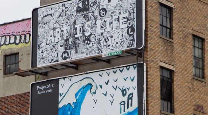 Two billboards depicting artwork